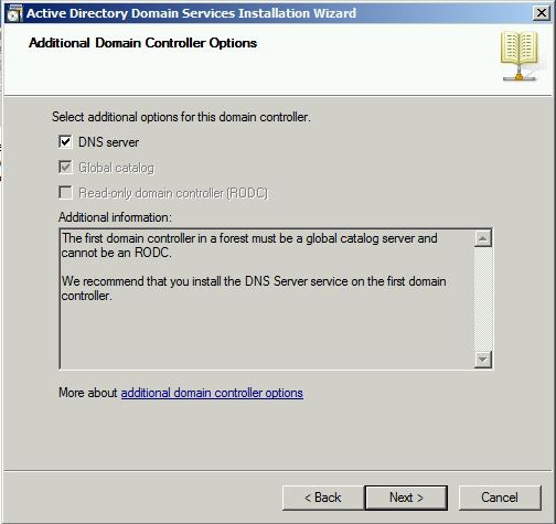 Additional Domain Controller Options