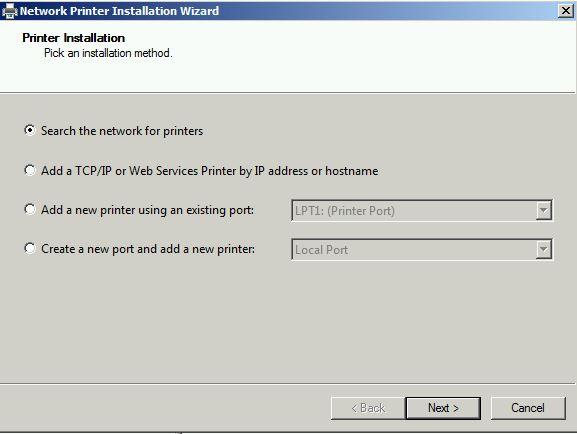 Network printer Installation