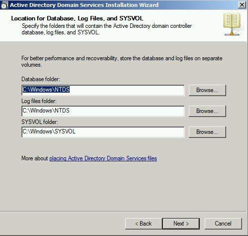 Locate for Database, Log Files and SYSVOL