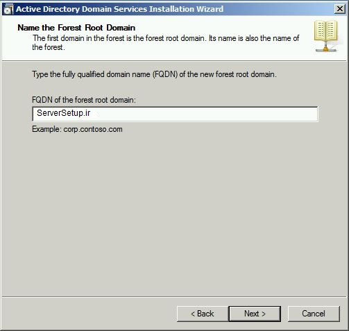 Name the Forest Root Domain(serversetup)